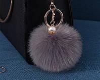 Меховый помпон брелок на сумку, рюкзак, ключи (серый)