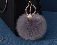 Меховый помпон брелок на сумку, рюкзак, ключи (серый), фото 1