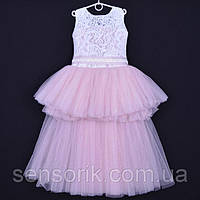 """Нарядное детское платье """"Ванесса"""". 6-8 лет. Белое+пудра."""