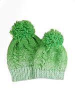 Шапка с помпоном зимняя яркая теплая зеленая неоновая