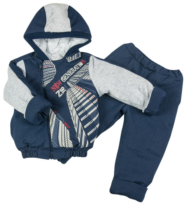 Комплект из джинса на синтепоне для мальчика 74 размер. Теплый костюм из 2-х частей