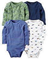 Набор трикотажных боди 4 шт. Carters (Картерс) синий, голубой, белый и зеленый