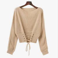 Женский вязаный свитер со шнуровкой спереди бежевый, фото 1