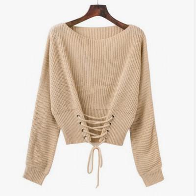 Женский вязаный свитер со шнуровкой спереди бежевый