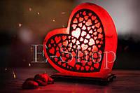 "Соляная лампа, ночник ""Сердце любви красное"""
