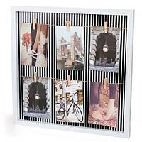 Фотоколлаж квадратный с прищепочками( полосы)