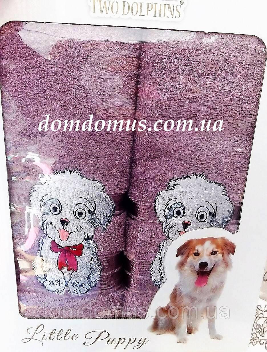 """Подарочный набор полотенец ( баня+лицо) """"Собака"""" Новый Год TWO DOLPHINS, 0141"""