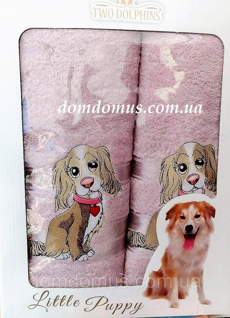 """Подарочный набор полотенец ( баня+лицо) """"Собака"""" Новый Год TWO DOLPHINS, 0142"""