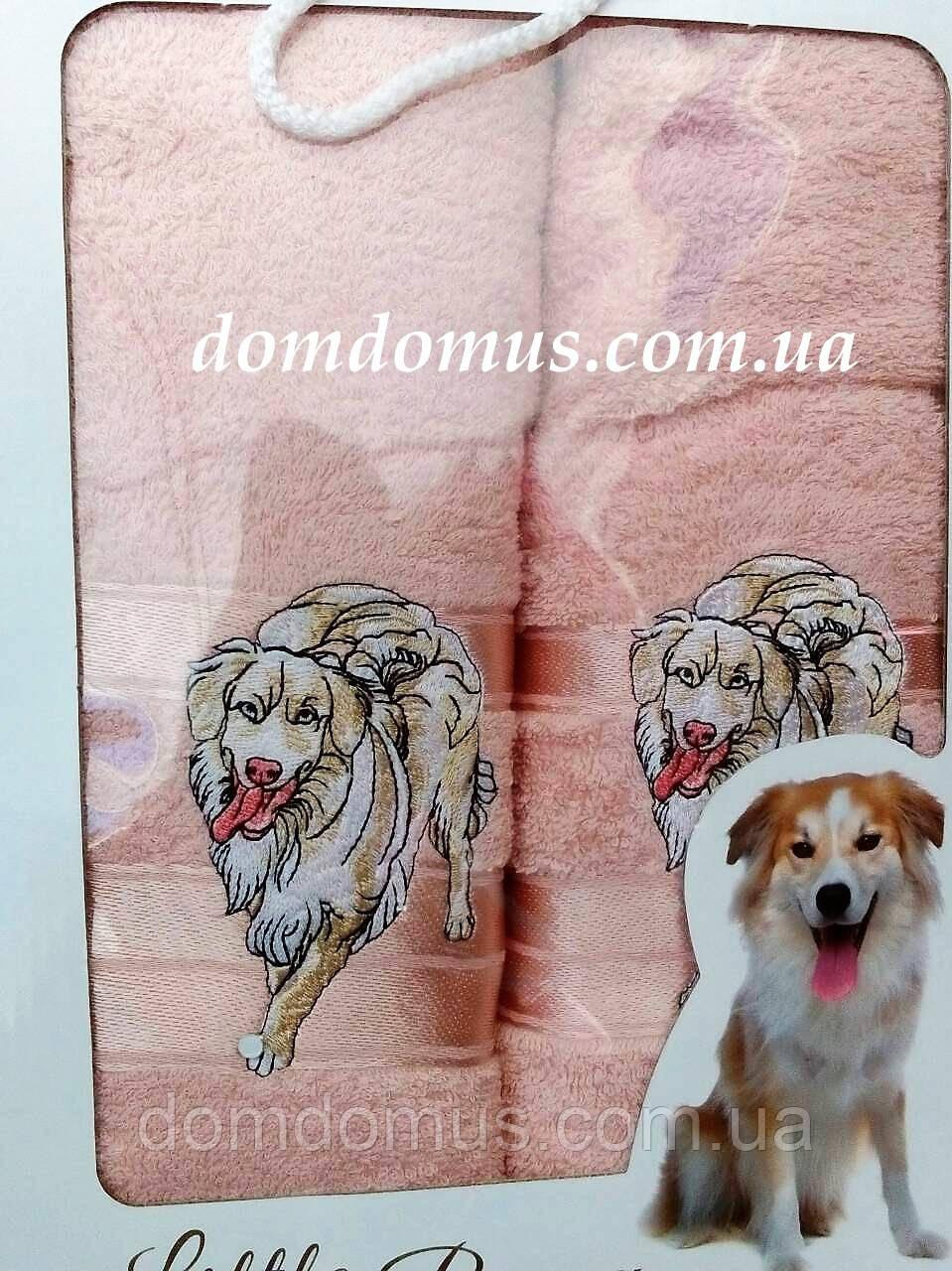 """Подарочный набор полотенец ( баня+лицо) """"Собака"""" Новый Год TWO DOLPHINS, 0143"""