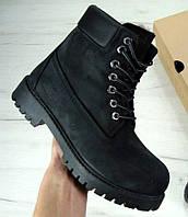 Мужские зимние ботинки Timberland 6 inch Black с натуральным мехом
