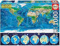 Пазл светящийся, Карта Мира, 1000 элементов, EDU-16760, EDUCA