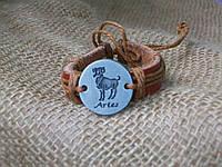 Кожаный браслет знаки зодиака ОВЕН, ручная работа