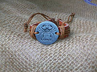 Стильный браслет из кожи знаки зодиака РАК для девушки, ручная работа
