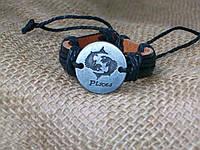 Стильный кожаный браслет знаки зодиака РЫБЫ, ручная работа