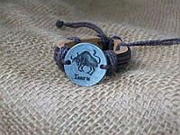 Кожаный браслет знаки зодиака ТЕЛЕЦ, ручная работа