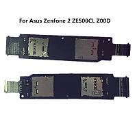 Держатель сим карты и карты памяти для Asus ZenFone 2 (ZE500CL) Original