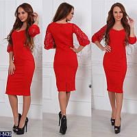 Красное платье-футляр с рукавами из дорогого кружева. Арт-12994.  Сертифицированная компания. 8e60141fbe2