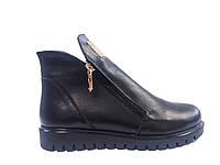 Кожаные женские зимние черные ботинки на платформе Amina Gold 713-7