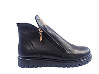 Кожаные женские зимние черные ботинки на платформе Amina Gold 713-9