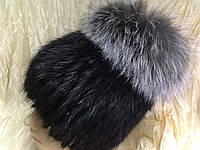 Меховая шапка из ондатры и верхом из чернобурки