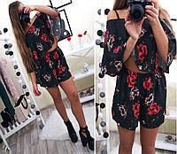 Женский, модный, летний костюм юбка-шорты + топ свободного кроя (креп эластан с цветочным принтом) Турция!