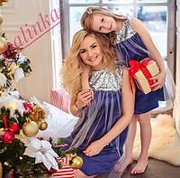 Платье велюр мама и дочка