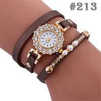 Женские часы с коричневым ремешком (213)