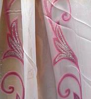 """Тюль полуорганза """"Лина"""" (розовый), фото 1"""