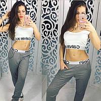 """Модный женский спортивный костюм """"Calvin klein"""" (брюки + топ, трикотаж двунитка)"""
