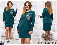 Стильное темно-бирюзовое платье-туника с вышивкой Жар птица. Арт-11005