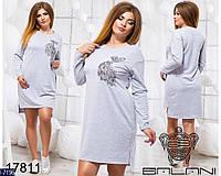 Стильное серое платье-туника с вышивкой Жар птица. Арт-11005