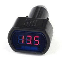 Вольтметр в прикуриватель 12/ 24 V красный дисплей, короткий (021) 26-34
