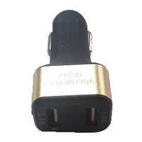 Вольтметр в прикурку 12V/24V красный дисплей,короткий, 2 USB (1.0A+2.1A) XKY-011