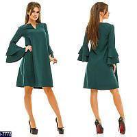 82a774b54ab Стильное зеленое платье трапеция с воланом на рукаве. Арт-11012