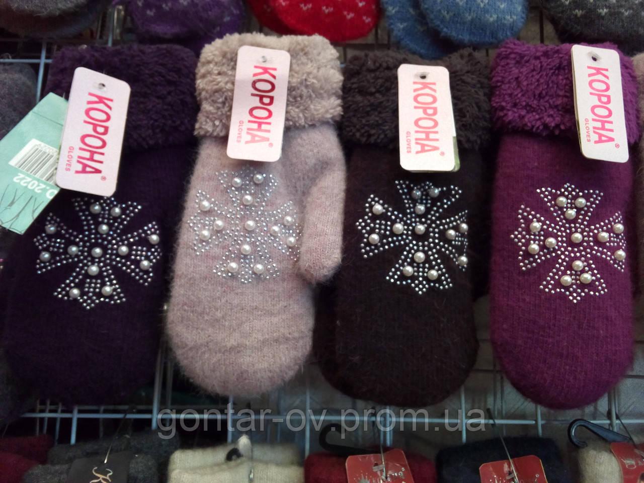 Жіночі рукавички на хутрі Корона