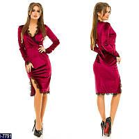 Стильное  бордовое бархатное платье с отделкой кружево.  Арт-11013