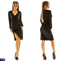 Стильное  черное бархатное платье с отделкой кружево.  Арт-11013