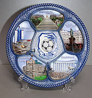 Тарелка сувенирная с символикой ФК Черноморец и видами Одессы