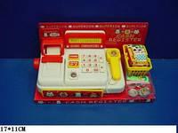 Детская касса Кассовый аппарат батар, с корзинкой и продуктами, под слюдой 17*11см 398