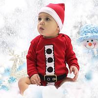 Комплект новогодний боди шапочка   3 6 9 12 месяцев на годик на 2 годика