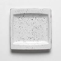 Блюдо фарфоровое 18х18 см. квадратное, белое с черными точками White Dots, Porvasal