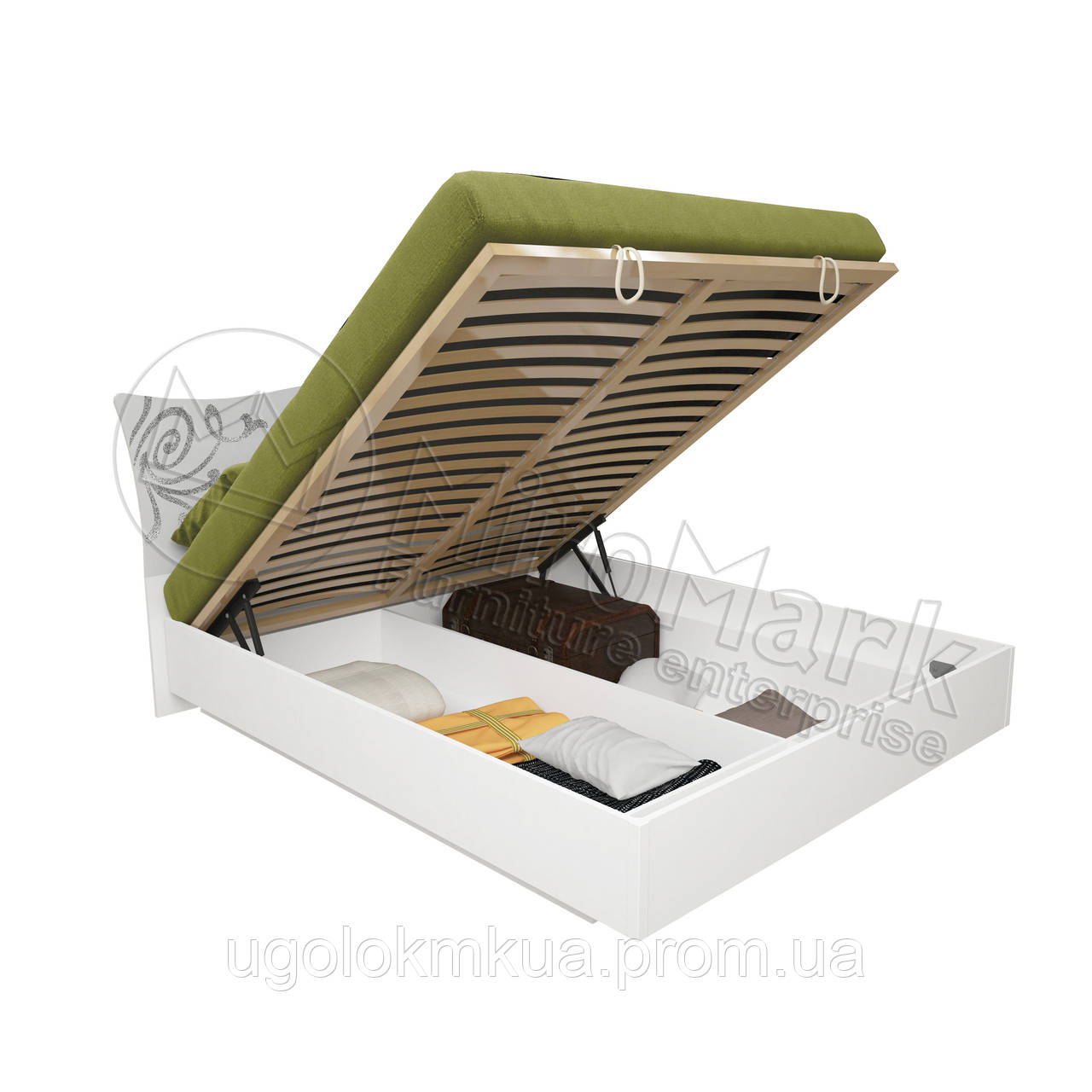 Спальня Богема белый глянец кровать 1,80*2,00 с подъемным механизмом с каркасом