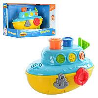 Детская игрушка для купания Корабль 7106 NL, плавает, бразгает водой, муз, свет, на бат-ке, в кор-ке, 21-15-13