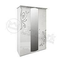 Спальня Богема белый глянец шкаф 3Д с зеркалами , фото 1
