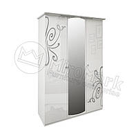 Спальня Богема белый глянец шкаф 3Д с зеркалами