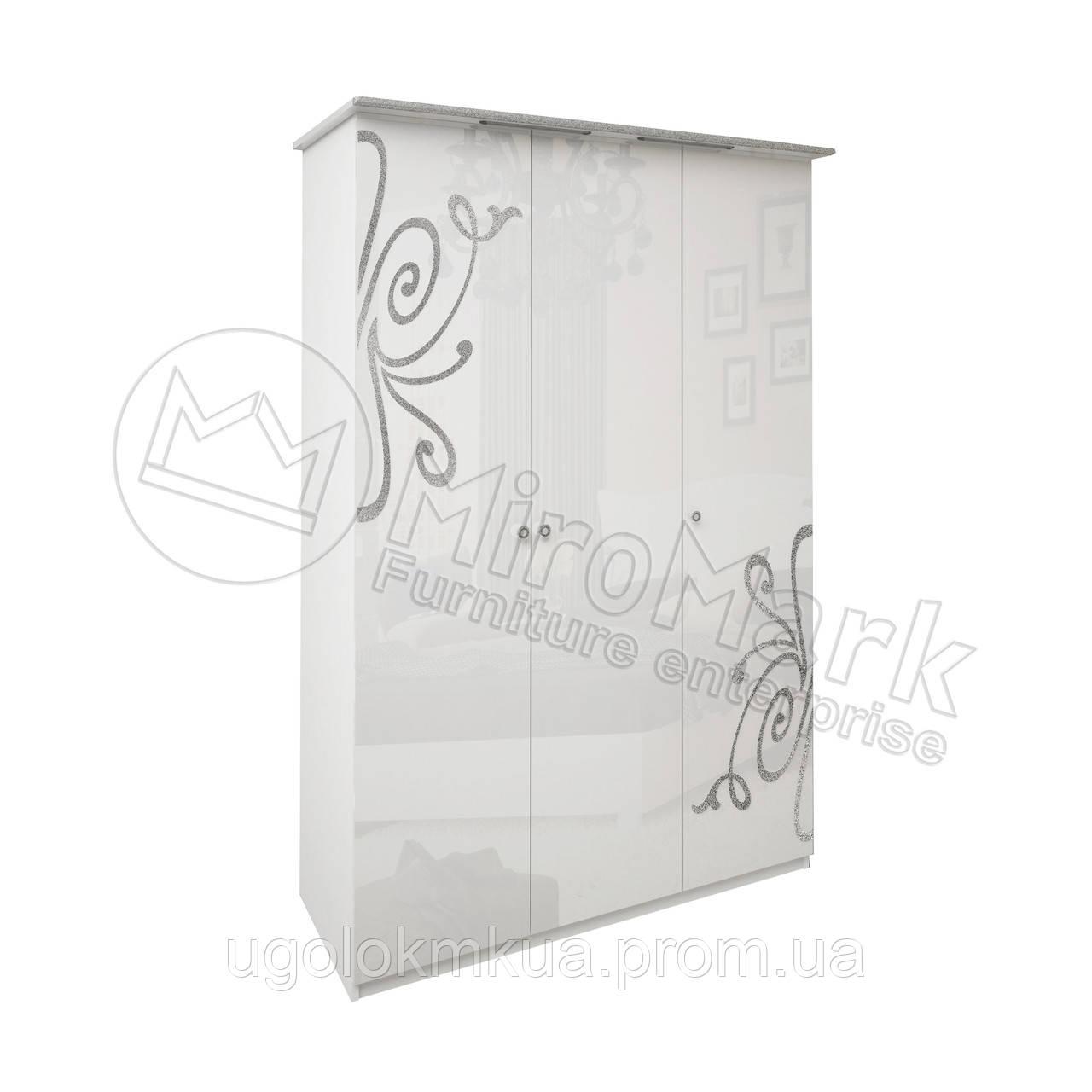 Спальня Богема белый глянец шкаф 3Д без зеркал