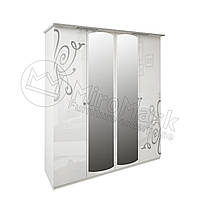 Спальня Богема белый глянец шкаф 4Д с зеркалами
