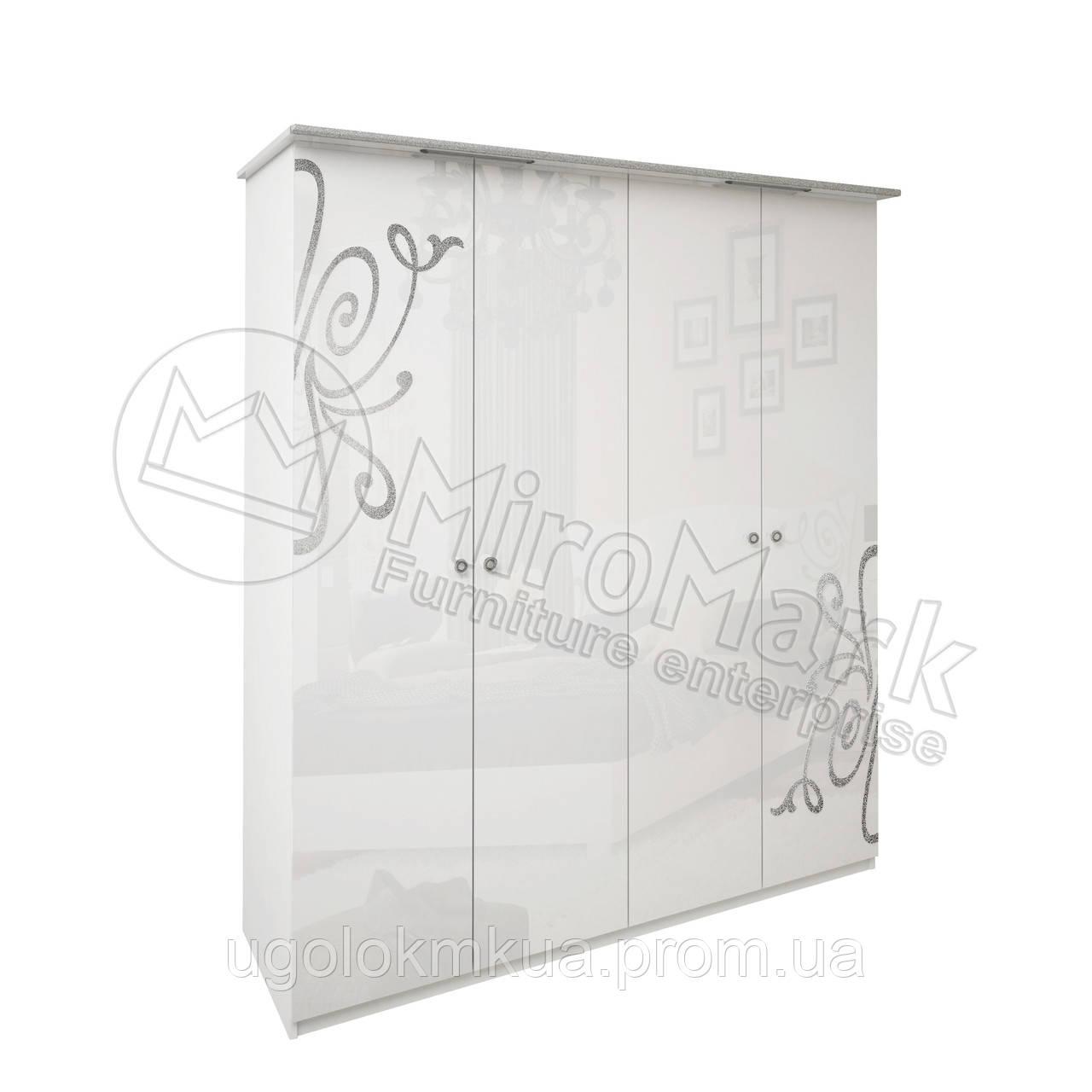 Спальня Богема белый глянец шкаф 4Д без зеркал