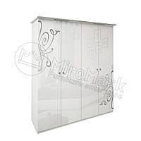 Спальня Богема белый глянец шкаф 4Д без зеркал , фото 1