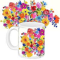 Кружка подарок с принтом Букет цветов